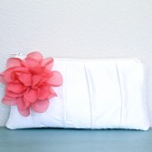 Silk Clutch, Ivory and Coral