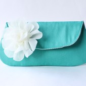 Custom Clutch, Teal Blue and Ivory Flower