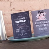 Chalk Board and Pancakes and Bridal Shower Invitations