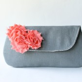 Coral and Gray Clutch