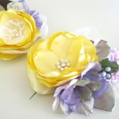 Mommy and Baby Bouquet Hair clip and headband matching set Handmade satin flowers Spring Party