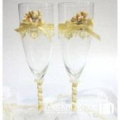 Wedding Glasses with my Stamens' Accents in Ivory and Handmade Decorations (1 Pair)