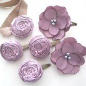 Bridal Party Dusty Lavender Spring Pastel Wedding Rosette Clips set