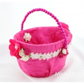 Flower Girl Basket with Brooches Crystals Handmade Flowers in Fuchsia Pink and White