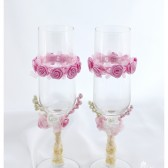 Wedding Glasses with my Stamen's Accents, Handmade Flowers, Special Ribbons in Pink and Ivory