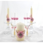 Wedding Unit set of 3 candles in Pink and Ivory