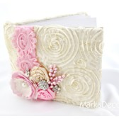 Wedding Guest Book in Pink and Ivory with a Line of Lace, Handmade Flowers, Brooches and Stamens' Accents