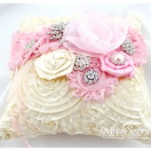 Wedding Ring Pillow with Brooches Crystals Handmade Flowers in Ivory and Pink
