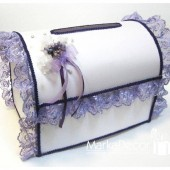 Wedding Chest Money Card Box in White and Purple with a Beautiful Handmade Boutonniere and Gorgeous Lace