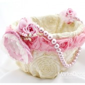 Flower Girl Basket with Brooches Crystals Handmade Flowers in Pink and Ivory