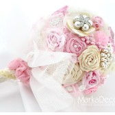 Brooch Bouquet Bridal Bouquet Jewelled Bouquet in Ivory and Pink