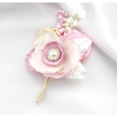 Groom Boutonniere with Satin Flowers my stamen's Accents and Cluster in Ivory and Pink