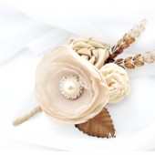 Groom Boutonniere with Satin Flowers my glass stamen's Accents and Cluster in Ivory, Tan, Champagne, Cream and Brown 1pc