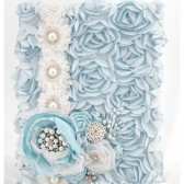 Wedding Guest Book in Blue and White with a Line of Lace, Brooches, Handmade Flowers and my Stamens' Accents