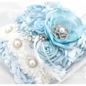 Wedding Ring Pillow with Brooches Crystals Handmade Flowers in Blue and Whi