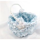 Flower Girl Basket with Brooches Crystals Handmade Flowers in Blue and White