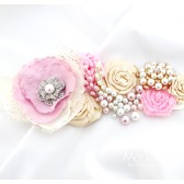 Bridal Sash in Pink and Ivory with Brooches, Stamens' Accents and Handmade Flowers