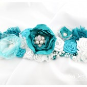 Bridal Sash in Turquoise, Dark tTurquoise, Blue and White with Brooches, Gass Beads, Stamens' Accents and Handmade Flowers