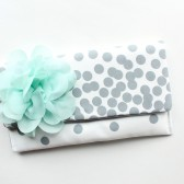 Polka Dot Clutch with Mint Flower