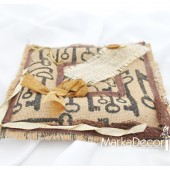 Wedding Ring Pillow Natural with Printed Keys and Vintage Decorations