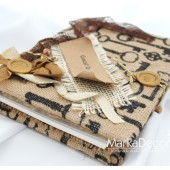 Wedding Guest Book Natural with Printed Keys and Vintage Decorations