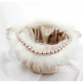 Flower Girl Basket with Handmade Flowers Fluffy ribbon and Clusters in Tan and Ivory