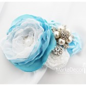 Hair Comb with Brooches, Handmade Flowers in Blue and White