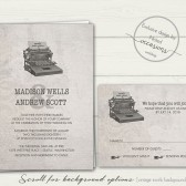 Industrial chic wedding invitation on textured vintage background featuring a typewriter
