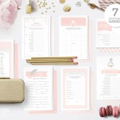 Kit with 7 Printable Bridal Shower Games in Champagne Pink