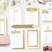 Seven Printable Games for Showers in Gold Glitter
