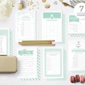 Kit with 7 Printable Bridal Shower Games in Mint