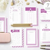Seven Printable Shower Games in Radiant Orchid Purple