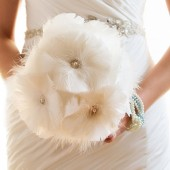 Isabella - Feather and Rhinestone bridal bouquet