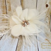 Ivory Feather Fascinator with Rose Gold Wedding Hair Piece,