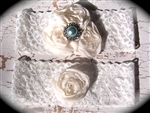 Ivory Lace Blue Pearl Garter