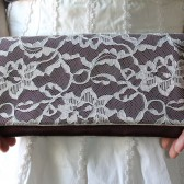 Ivory Lace and Eggplant Bridesmaid Clutch