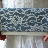 Ivory Lace and Lyons Blue Bridesmaid Clutch