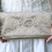 Nude Satin and Ivory Lace Bridesmaid Clutch