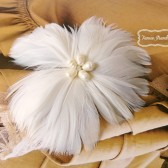 Ivory Pearl Wedding Hair Fascinator FancieStrands