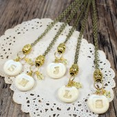 5 Ivory and Gold bridesmaids initial pendant necklaces