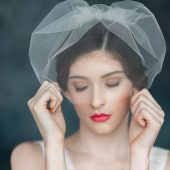 Tulle Blusher Bridal Veil, Mini Veil, Modern Veil, Simple Wedding Veil, Ivory Tulle Veil, White Veil, Short Tulle Veil