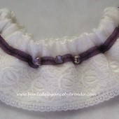 Ivory Brocade & Purple Keepsake garter
