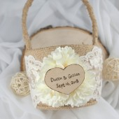 Ivory Flower Basket, Personalized, Rustic, Flower Girl Basket, Engrave