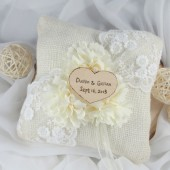 Ivory Burlap Ring Bearer Pillow, Personalized, Wedding Pillow, Rustic Ring Pillow, wooden heart