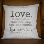 Love Never Fails pillow cover