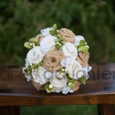 White and Natural Burlap Bride-Wedding Bouquet with White Berries and Greens