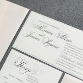 One of my top selling wedding invitations has a new look this year - blush pink and gray with soft, subtle accents that are really beautiful in person.