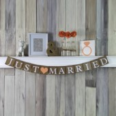 Just Married Rustic Wedding Banner