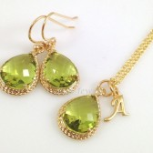 Gold Peridot Necklace and Earrings Set