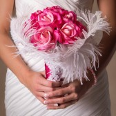 Jennifer - Real Touch Rose bouquet with Swarvoski Crystals and ostrich feathers